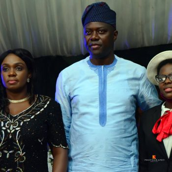 Governor Seyi Makinde with Miracle Oyedokun (who came second) at the NIGERIA AT 60 Oyo State Quiz Competition Dinner